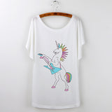 Standing Unicorn T Shirt Women's Batwing Sleeve Regular Length White Assorted Graphics