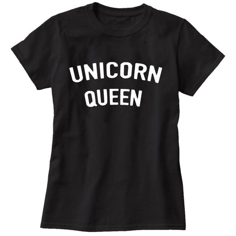 Unicorn Queen T Shirt in Black Color in Small, Medium, Large, XL and XXL Sizes