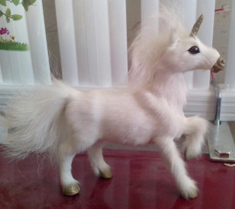 artificial animal model about 18x18cm white unicorn toy fur& polyethylene horse toy home furnishing gift u0440