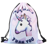 I'm More Majestic Than You Unicorn Backpack Fun Printed Soft Drawstring Bag