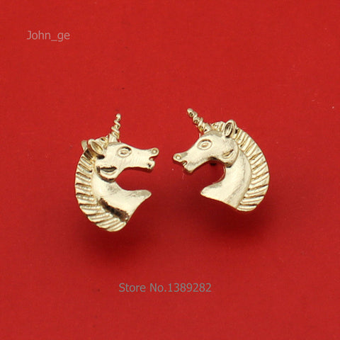Unicorn Head Earrings Stud Design 1 Pair in Gold Color Metal