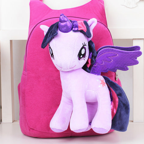 Unicorn Backpack with Cute 3D Stuffed Cartoon Animal Toy in Pink, Blue and Red Bag