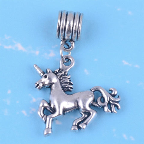 Antique Silver Plated Cute Unicorn Animal Dangle Beads fit Original Charm Bracelet DIY Nature Jewelry