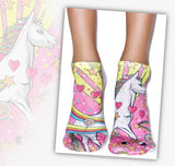 Unicorn Socks with Rainbow in Women's and Girls Size Low Cute Ankle Close Up