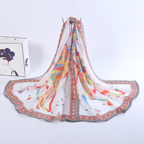 Women winter scarf long Imitated silk satin pattern female unicorn scarves shawl oversized silk Scarf 180*100cm PF-011