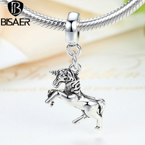 BISAER 2016 Jewelry Slavic Charm DIY Alloy Unicorn Horse Charms Pendant Beads Fit Bracelet Silver Plated 1 Pcs Wholesale