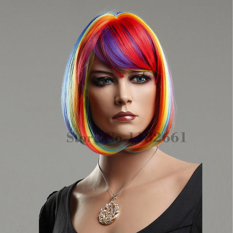 Unicorn Rainbow Hair Wig Short Bob With Bangs For Party, Night Out, Costume, Cosplay and More