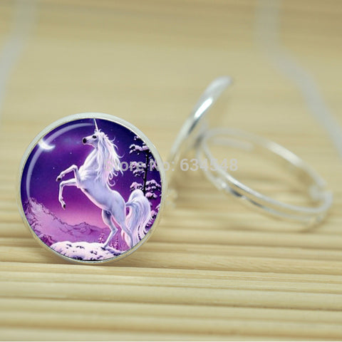 Rearing Unicorn Ring Cabochon Adjustable Silver Color Metal 1 Piece