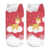 Unicorn Socks in Several Cute and Magical Designs for Women and Girls Ankle Length Orange Unicorn