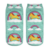 Unicorn Socks in Several Cute and Magical Designs for Women and Girls Ankle Length Yellow Unicorn