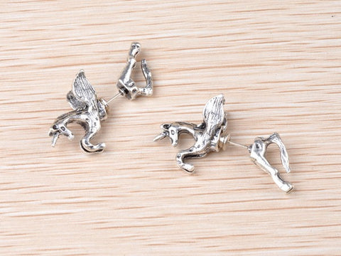New 1PC Punk  Vintage Unicorn Horse Through Ear Cuff Wrap Earrings