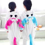 Unicorn Pajamas in Pink and Blue Colors Cosplay Kigurumi Halloween Costume Children S,M,L and XL Back