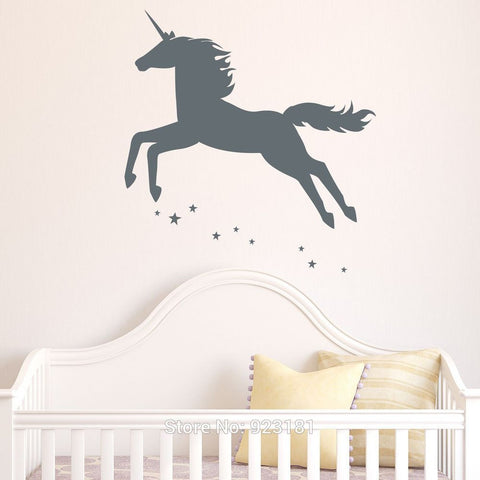 Animal Unicorn Girls Stars Mythical Wall Art Stickers Decal Home DIY Decoration Wall Mural Bedroom Decor Wall Stickers