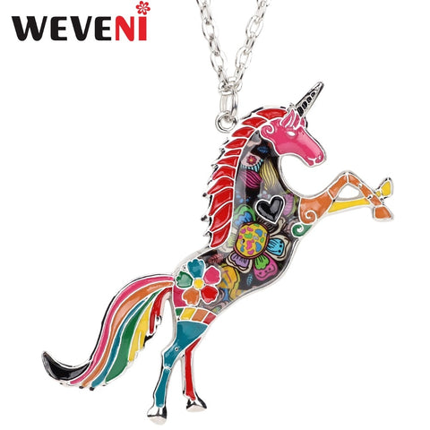 WEVENI Original Statement Enamel Unicorn Horse Necklace For Women