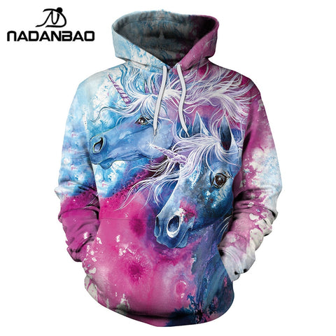 NADANBAO 2018 New Arrival Unicorn Hoodies 3D Printed Hiphop Kawaii Unicornio Hooded Women Sweatshirt