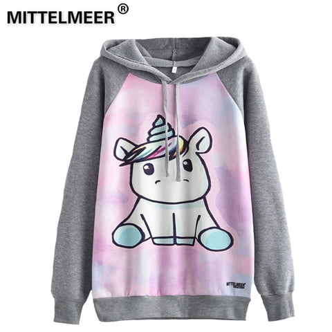 MITTELMEER 2018 Autumn winter Harajuku printed Hooded Unicorn Sweatshirt