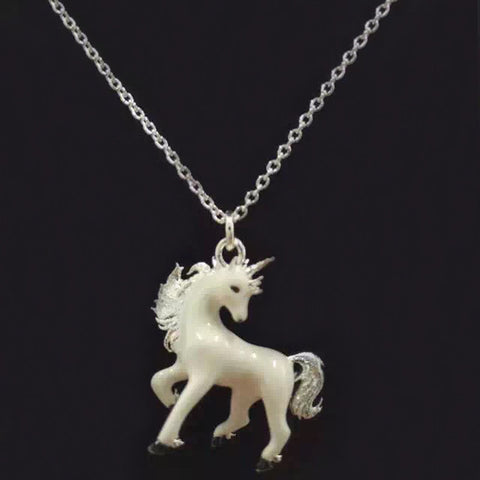 Fashion New Metal White Unicorn Pendant Chain Necklace For Women & Kids