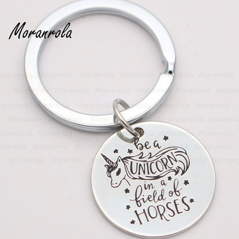 "NEW - ""Be a unicorn in a field of horses "" Necklace or keychain charm unicorn"