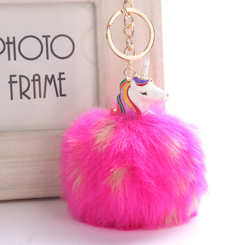 Anime Unicorn With Pom Pom Plush Toy With Keychain Unicorn Key Pendant  Soft Stuffed Animal Toys Kids Girls Bag Hang Pendant