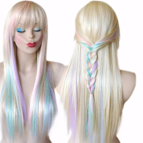 Unicorn Hair Color Wig with Subtle Pastel Pink, Purple and Blue Colors Long Hair with Low Hanging Bangs
