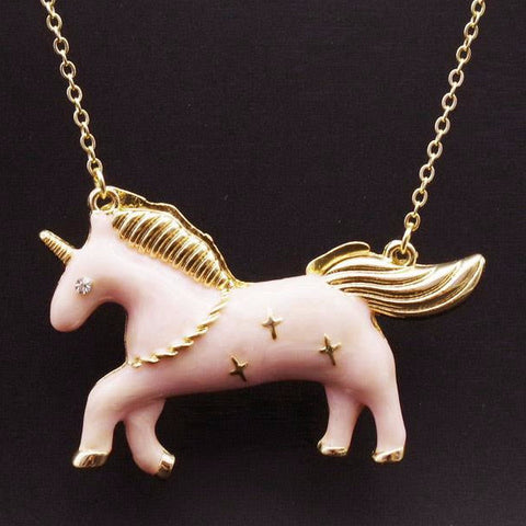 Enamel Style Unicorn Necklace in Pink with Trendy Fashion Design