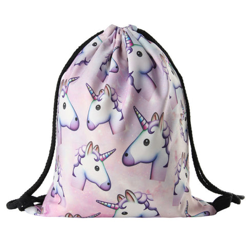 Unicorn Backpack Fun Printed Soft Drawstring Bag with Various Mochila Designs