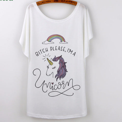 Unicorn T Shirt Women's Batwing Sleeve Regular Length White Assorted Graphics