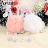 Aytai Cute Fluffy Christmas Unicorn Ornaments Faux Rex Rabbit Fur Ball Key Chain Girl Bag Hang  Christmas Tree Decorations