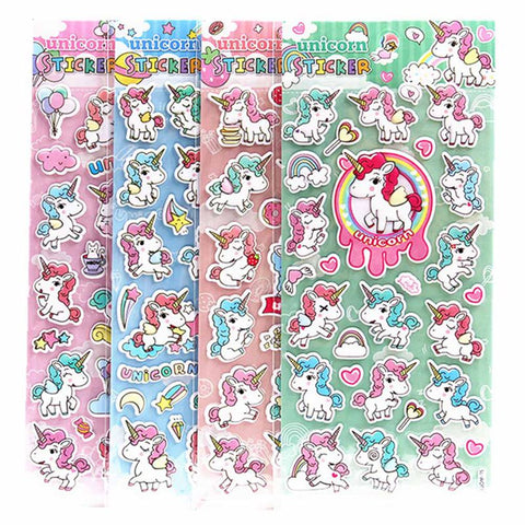 Cute Cartoon Unicorn 3D Decorative Stickers Scrapbooking Stick Label Diary Stationery Album Stickers Kids Gifts Random Color