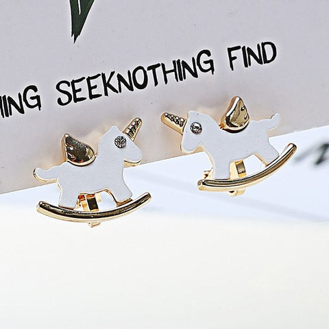 Hot Sale Alloy Spray Painting Small Horse Unicorn Clip on Earrings Without Piercing for Girls Fashion Animal Ear Cuff Earrings