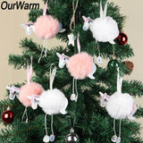 OurWarm 10Pcs White Pink Fluffy Unicorn Christmas Ornaments Fur Ball Pom Pom Horse Hanging Pendant Christmas Tree Decoration