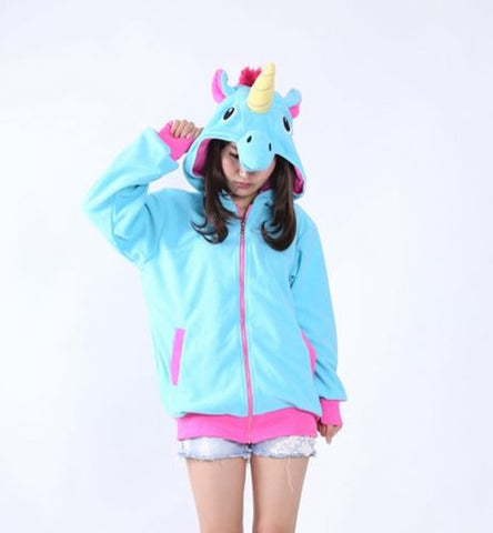 Unicorn Costume Hoodie Jacket in Blue with Horn, Ears and Mane in Small, Medium, Large and XL Sweater