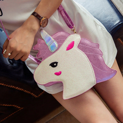 Unicorn Purse Hand Bag in a Cute Head Design in Pink Color with Matching Shoulder Strap