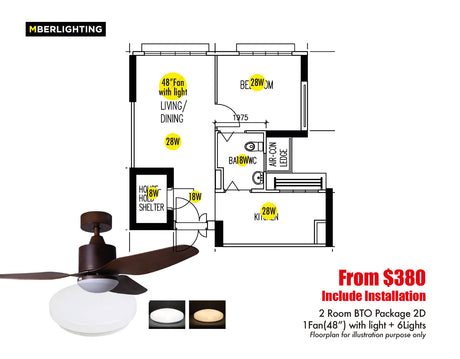 "2Room BTO Package 2D (1Fan-48""+6Lights)"