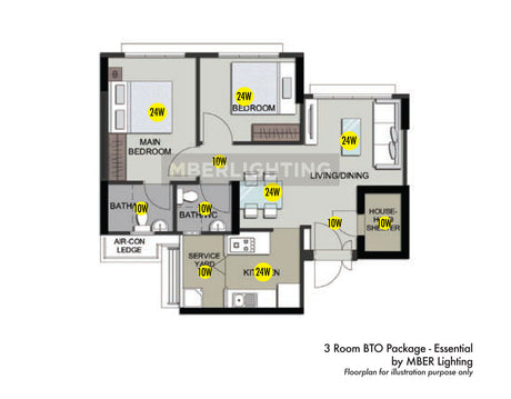 3Room BTO Package - Essential(11 Lights)