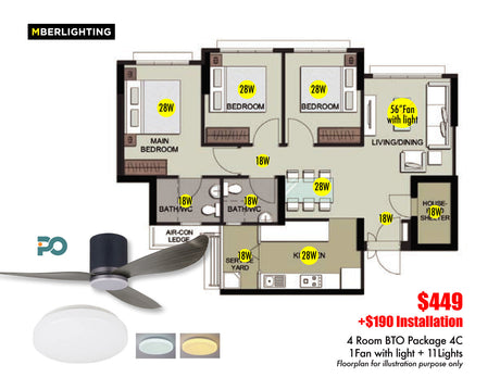 4Room BTO Package 4C (1Fan+11Lights)