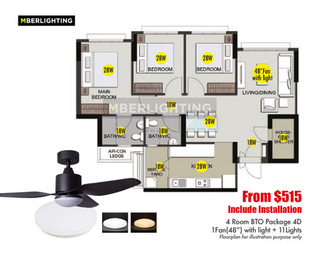 "4Room BTO Package 4D (1Fan-48""+11Lights)"
