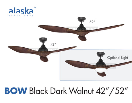 "Alaska BOW 42""/52"" Black Dark Walnut Wood"