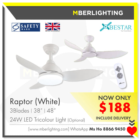 "RAPTOR 38""/48"" WHITE (24W LED Optional)"