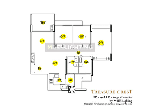 Treasure Crest EC 3Room-A1 Package - Essential(12 Lights)