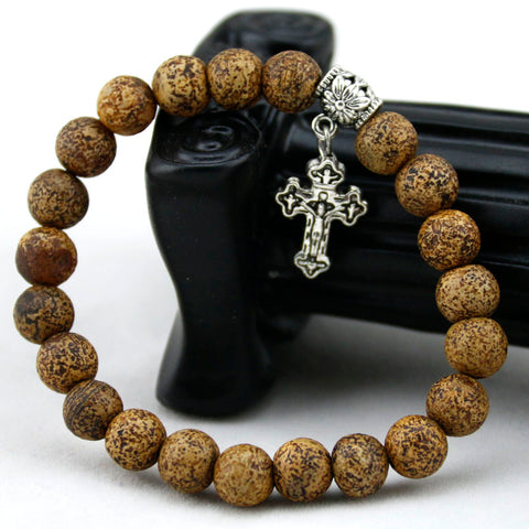 Onyx Natural Stone Cross Bracelet
