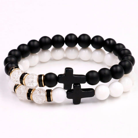 White Crystal/Black Matte Stone Cross Bracelet