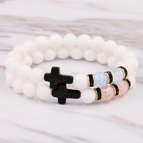 White Stone/ Black Cross Bead Bracelet