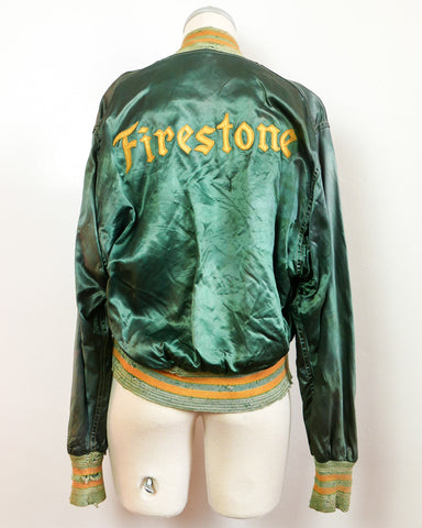 Firestone Green Satin Bomber Jacket