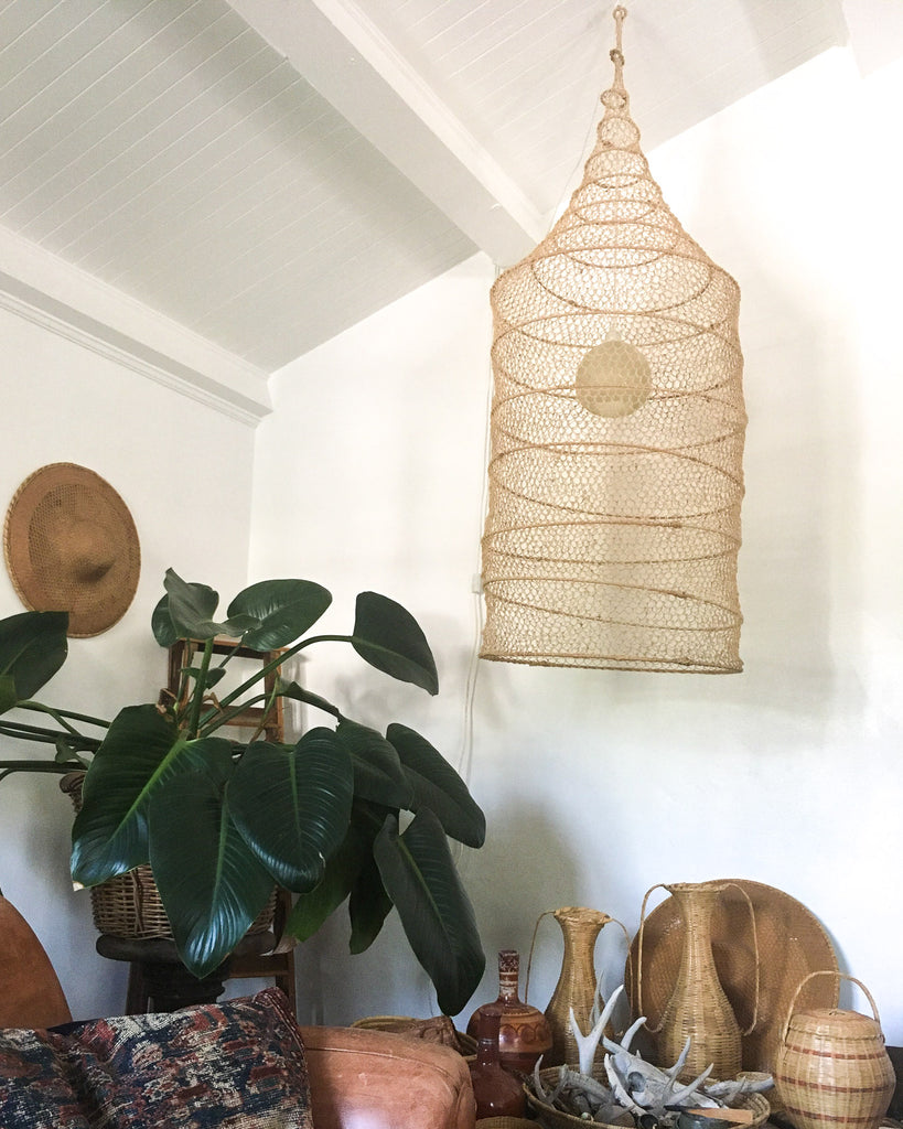 Vintage Woven Collapsible Hanging Lamp