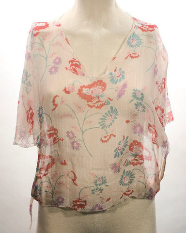 1920's fabric Sheer Floral Top