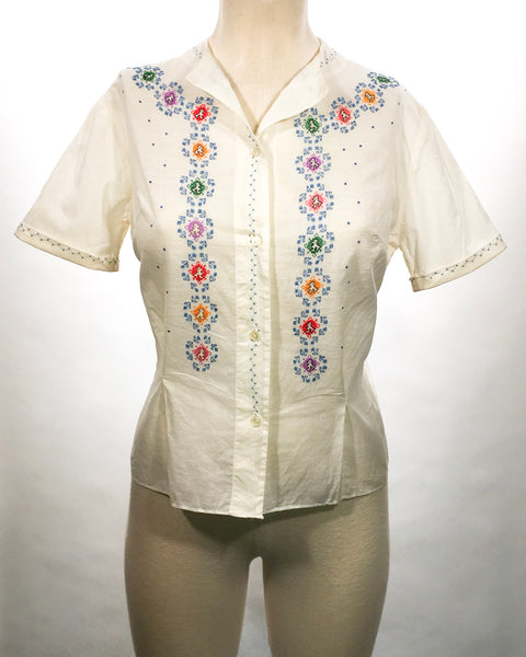 1940-50's Ethnic Embroidered Cotton Blouse
