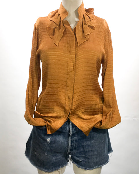 1970's Charles Jourdan Turmeric Silk Blouse