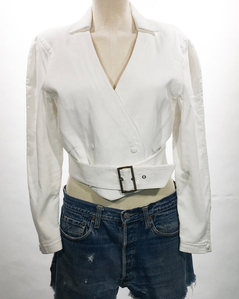 1980's Thierry Mugler White Belted Jacket