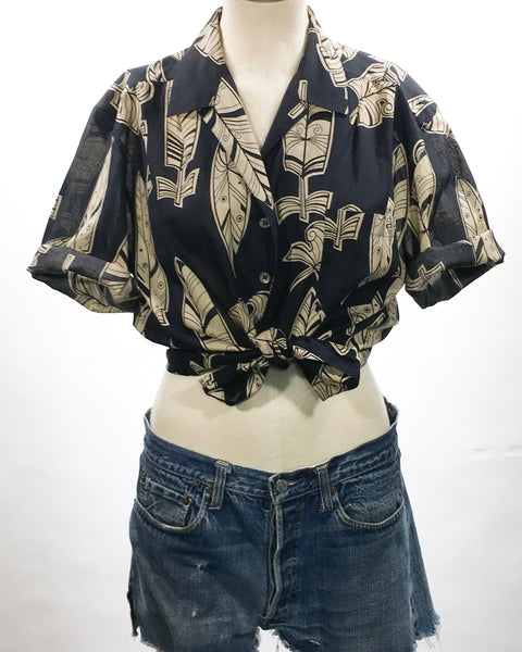 1980's Mondi Feather Print Cotton Top